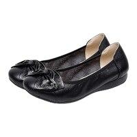 VSEN Hot Handmade Genuine Leather Ballet Women Female Casual Shoes Women Flats Shoes Slip On Car