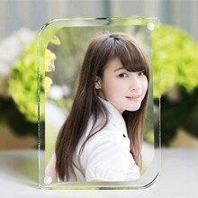 (2pcs/lot) 203x152mm Thickness 10+10mm Acrylic Magnet Picture Frame Diagonal Arc Design Plexiglass Clear Crystal Display Racks