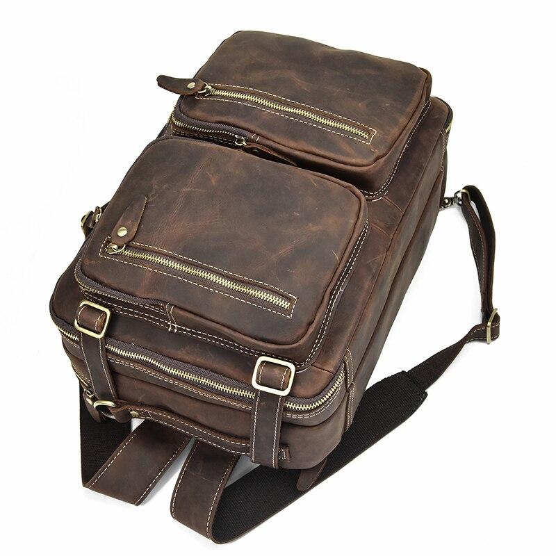 Mochila De cuero de alta calidad, mochila de cuero de vaca con cremallera doble, maletín de viaje para oficina, bolsos de hombro de doble uso, de cuero puro - 4