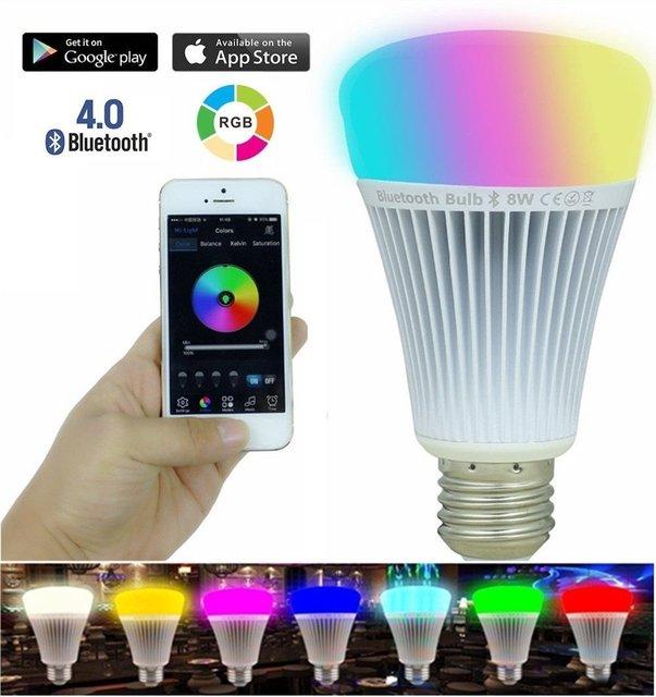 free shipping AC 85 265 V E27 8W led RGB Lamp bluetooth wireless led ...