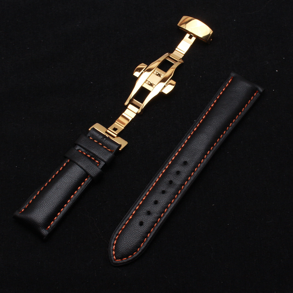 Orange Stitched leather watchbands men women high-quality soft strap watch band bracelets straps smooth leather hot for watch top quality 2 mm machine stitched kendo bogu aizome deer leather men do kote tare free shipping