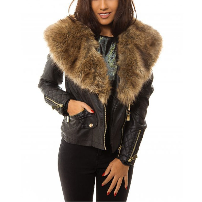 Images of Leather Jacket With Fur Collar - Reikian