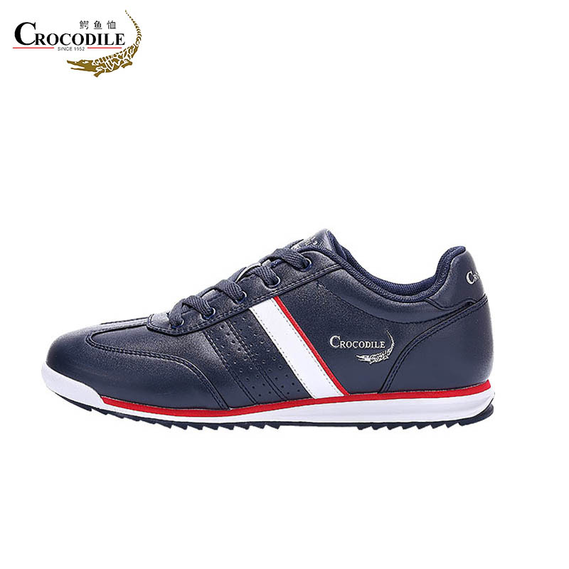 Crocodile Men Running Shoes Waterproof Athletic Leather Footwear Male Jogging Sport Shoes Sneaker Shoes For Mens Off Black&White