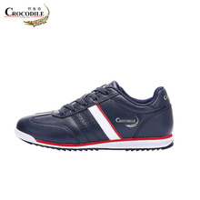 Crocodile Men Running Shoes Waterproof Athletic Leather Footwear Male Jogging Sport Sneaker for Mens off Black&White