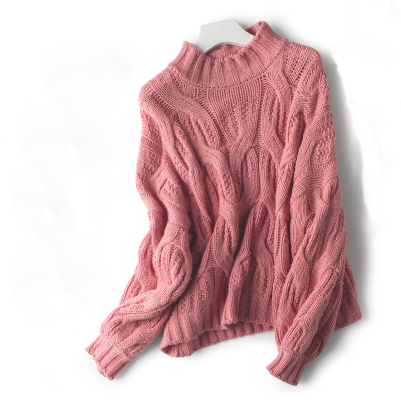 a6cfbba56 HIGH Quality Sweater Women Autumn Winter Vintage Twist Design Solid Thick  Sweater Loose Short Knitted Sweaters-in Pullovers from Women s Clothing on  ...