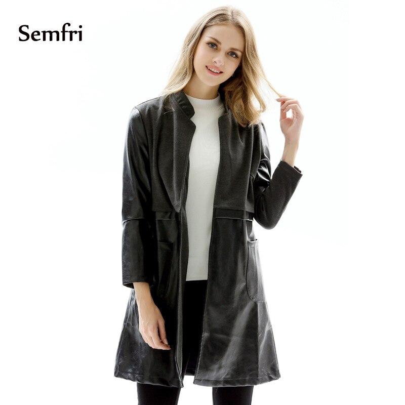 Semfri Faux Leather Coat Winter PU Faux Leather   Jacket   Women Casual   Basic   Coats Plus Size 5XL Ladies   Basic     Jackets