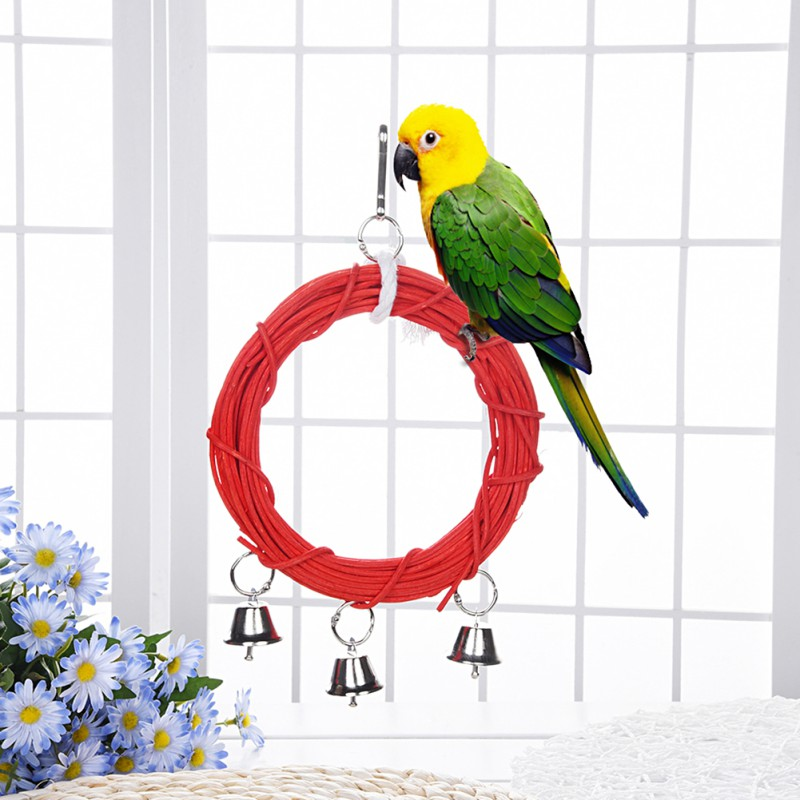 Bird Toy Red Rattan Circle Swing Parrot Toy Horse Hanging Toy With Bell Cockatiel Parrot Climbing Ringing Bell Toy Bird Supplies