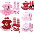 Newborn Baby Girl Birthday Clothes Set Short Sleeve Jumpsuit  + Headband + Warmers + Shoes Enfant Baby Princess Dress Set 4pcs