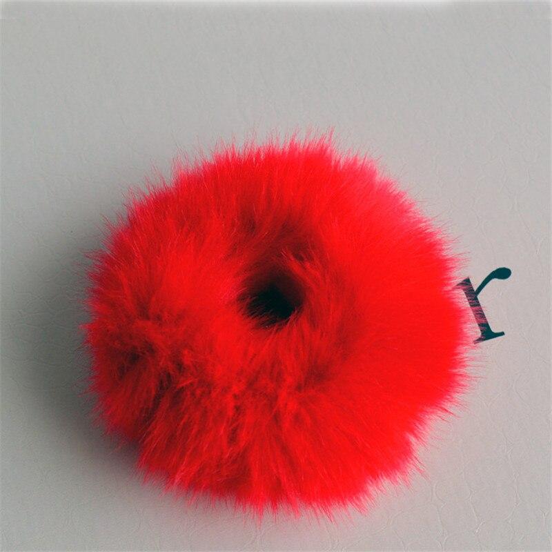 Резинки для волос резинка для волос Милые эластичные резинки для волос для девочек, искусственный мех, резиновое кольцо, веревка, пушистый бант аксессуары для волос, пушистая резинка на голову - Цвет: C6