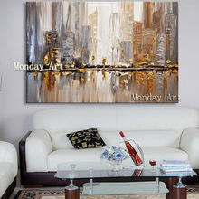 Big Size Abstract golden Oil Painting on Canvas Hand-painted High Quality Acrylic Wall Art for living room