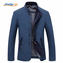 Covrlge 2018 Spring Autumn Polyester Slim Fit Thin Stand Button Male Casual Jacket Men Short Windbreaker Jackets Coat 4XL MWJ106