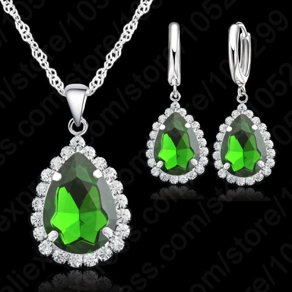 Top Quality Wedding Jewerly Set Sweety Necklace Earrings18 inch 925 Sterling Silver Necklace Chains Crystal Earring Sets