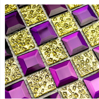 Online buy wholesale mirror backsplash from china mirror for Purple mosaic bathroom accessories