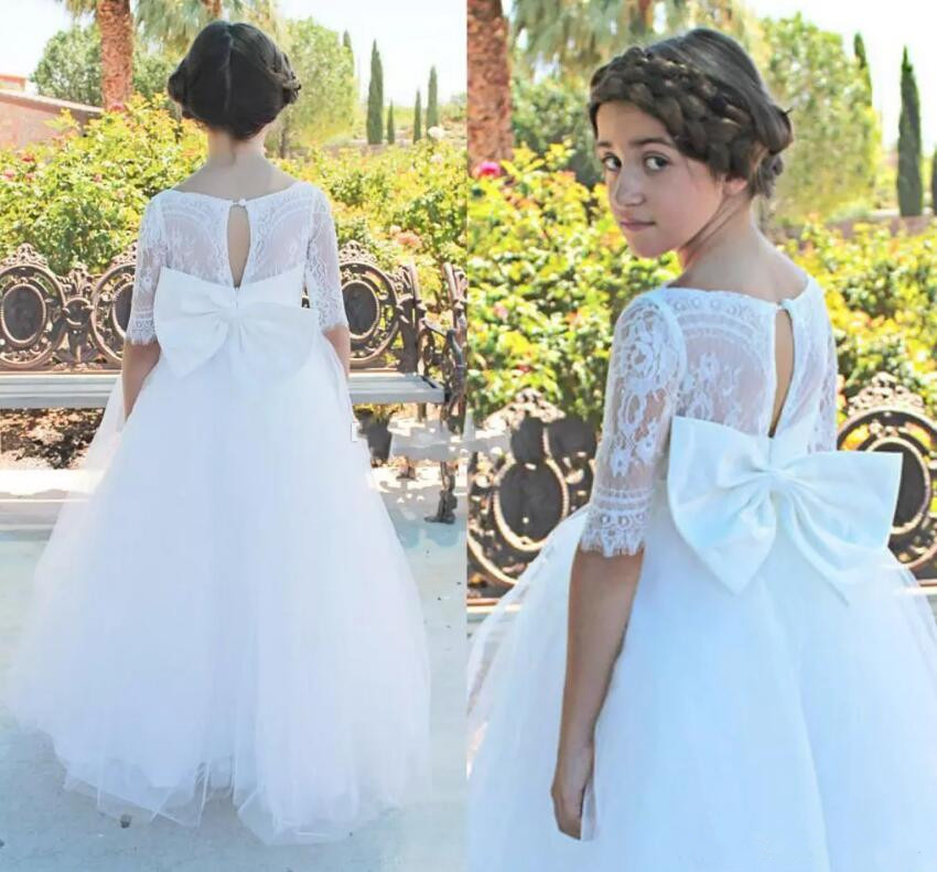 White Lace Half Sleeve Flower Girl Dress for Wedding A Line Scoop Neck with Bow Communion Pageant Gown Vestidos stylish scoop neck lace embellished short sleeve blouse for women