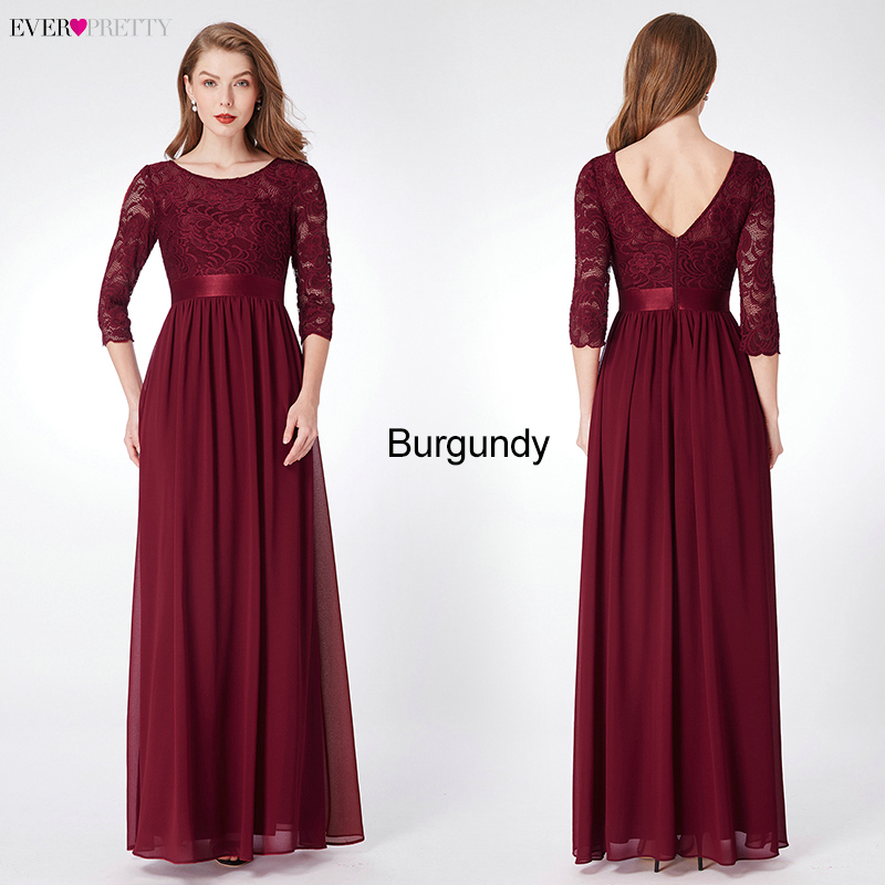 Image 4 - Elegant Lace Bridesmaid Dresses Ever Pretty EP07412 A Line O Neck 3/4 Sleeve Sexy Wedding Guest Dresses Vestido De Festa Longo-in Bridesmaid Dresses from Weddings & Events