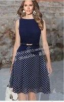 Sans manches en mousseline dentelle robe bleu longue moulante de bal robe casual robe de renda infromal d'hiver polka robes maxi robes