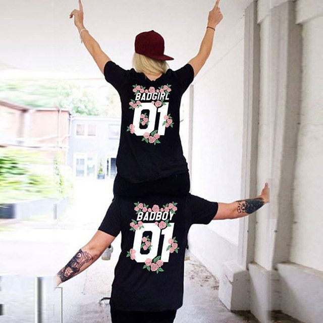 fad53993e42 New Matching Couple Lover T Shirts Women 2018 Summer Fashion T-shirts Letter  BAD GIRL BAD BOY 01 Flowers Print Tees for loved