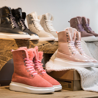 Winter 2018 sheepskin and fur snowfield boots with thick sole, recreational leather, in cylinder lacquer leather, anti skid and