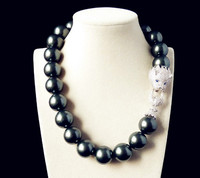 Fancy 20mm Black Shell inlay Mother of Pearl Zircon Leopard Head Necklace for Party Gift
