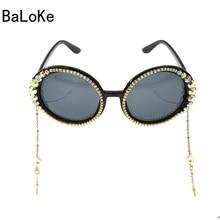 32dbcd23e9 Big Frame Brand Designer Baroque Sunglasses Women Personality Style Chain  Decoration Crystal Sun Glasses Female Fashion Eyeglass