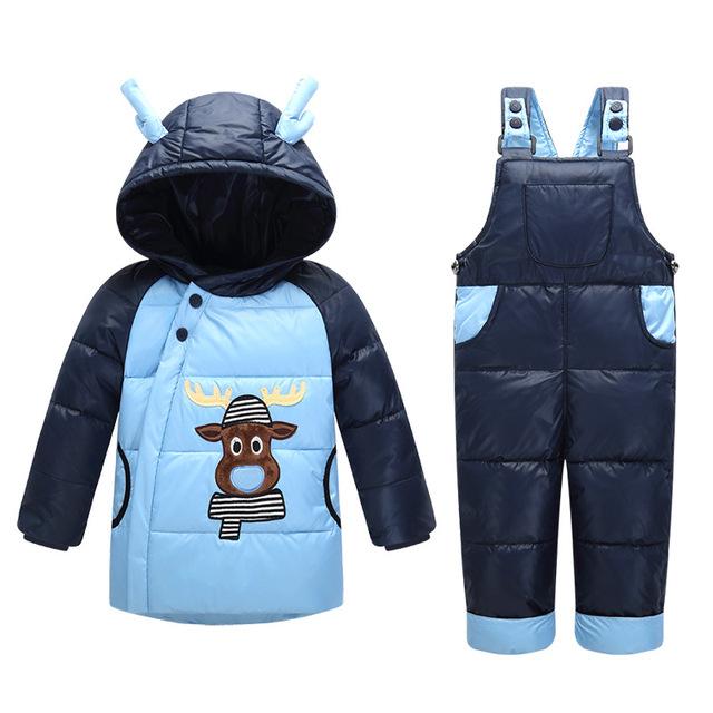 2016 nova vaca 2 pçs/set Roupas Crianças Terno Do Bebê Meninas Para Baixo Casaco de Inverno das Crianças Quentes Calças Casacos Snowsuits 0-4years T0188