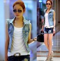 New hot denim colete mulheres casaco vintage cardigan jean sem mangas turn-down collar único brted colete mulher clothing