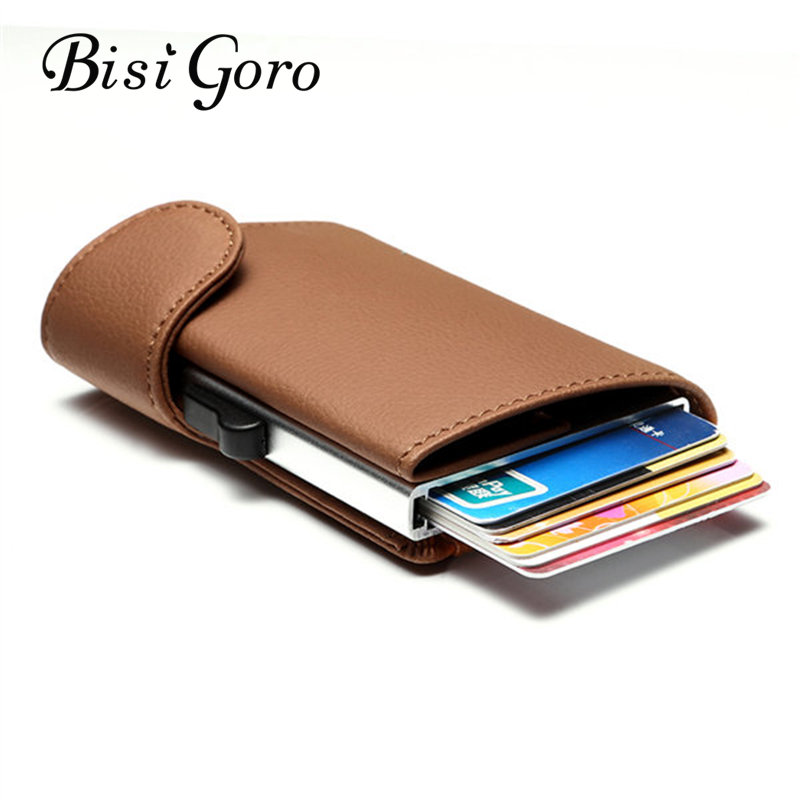 Bisi Goro New 2019 Wallet With RFID Card Holder Blocking Metal Holder Single Box Minimalist Aluminium Card Package Smart Wallet