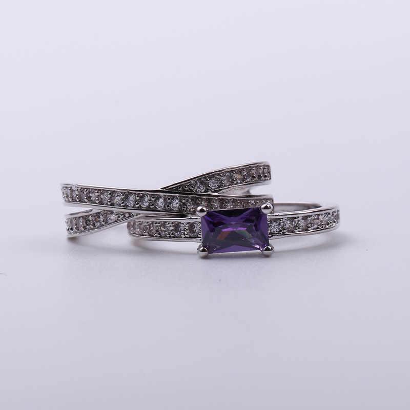 צלב עיצוב מפואר אצבע טבעות סט 2 PCS עם מלא ברור לבן CZ קריסטל שחור טבעת עבור נשים חמה Anillos אנל