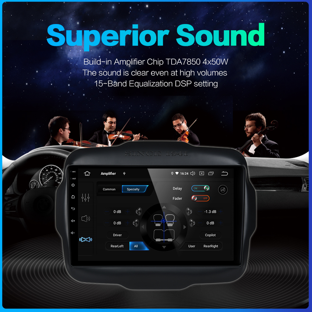 "Image 5 - Dasaita 9"" Android 9.0 Multi Touch Screen Car Radio for Jeep Renegade GPS 2016 2017 HDMI 2.5D IPS Touch Screen TDA7850 BluetoothCar Multimedia Player   -"