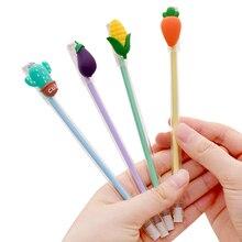 1pcs/lot Creative Cartoon Student Three-dimensional Vegetables Small Fresh Transparent Pen 0.5mm Black Core Gel 4 Selection