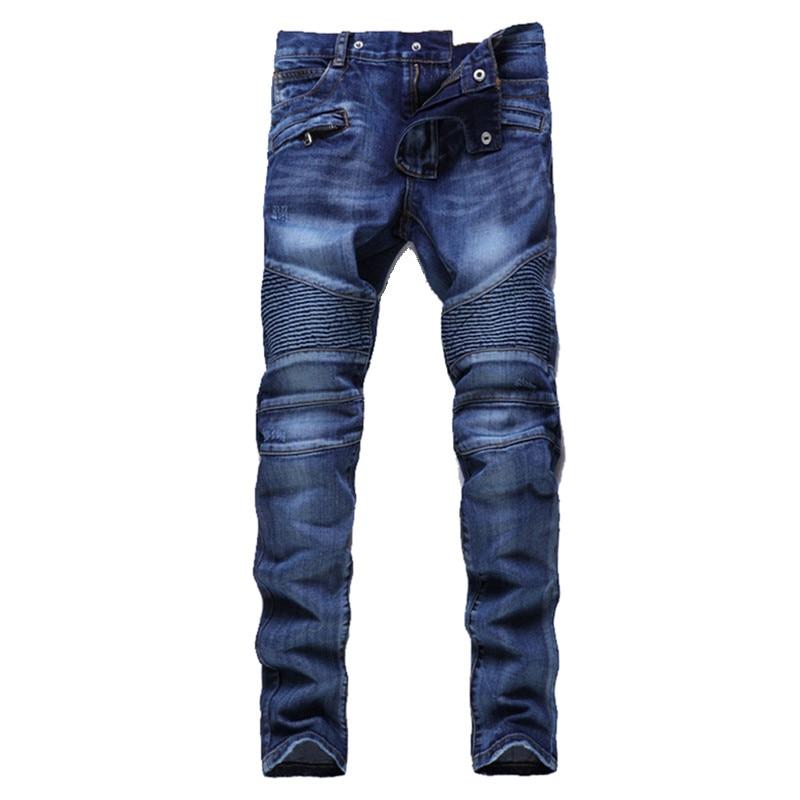 Hip Hop Mens Motorcycle Jeans Blue Slim fit Biker Jeans Mens Pleated Straight Denim Pants Z1218