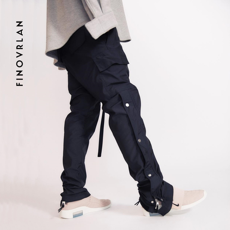 Hip Hip Cargo Pant Retro Vintage Harem Pant Joggers Harajuku Streetwear Side Pockets Trousers 2019 Tactical Pant Swag Ribbon