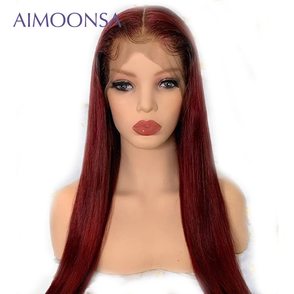 13x6 Aimoonsa Red Wine Wig Ombre Color Lace Front Human Hair Wigs With Baby Hair Straight Brazilian Remy Hair Lace Wig Free Part