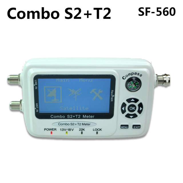 SZ SF-560 SF560 Digital Satellite Signal Meter Sat Dish Finder with Compass DVB-S/T/S2/T2 SF 560 htv android tv box dvb t2 rom