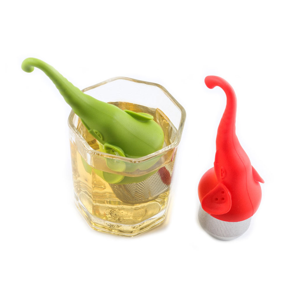 2019 New Creative Silicone Elephant Shaped Tea Strainer Stainless Steel Teaspoon Filter Diffuser