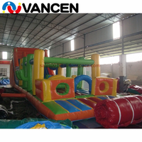 10mL amusement park inflatable jumping castle combo slide commercial floating obstacle adult inflatable obstacle course