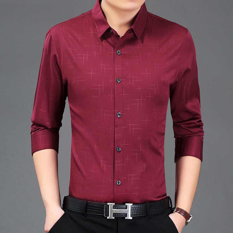 Miacawor Новая модная брендовая мужская рубашка с принтом, повседневные рубашки с длинными рукавами для мужчин, приталенная Мужская одежда, C387