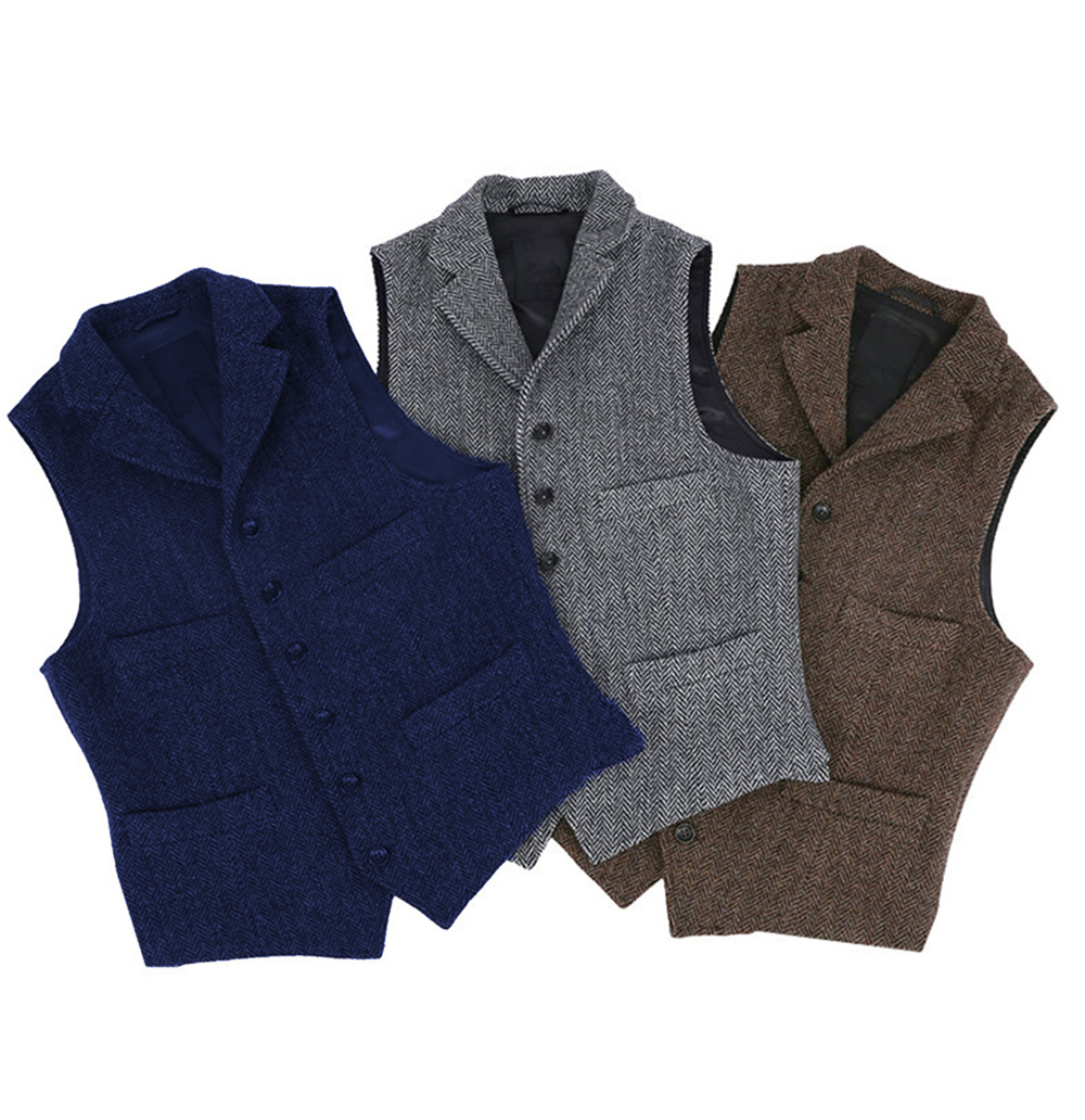 Mens Suit Vest Lapel V Neck Wool Herringbone Casual Formal Business Vest Waistcoat Groomman For Wedding Green/Burgundy/Brown
