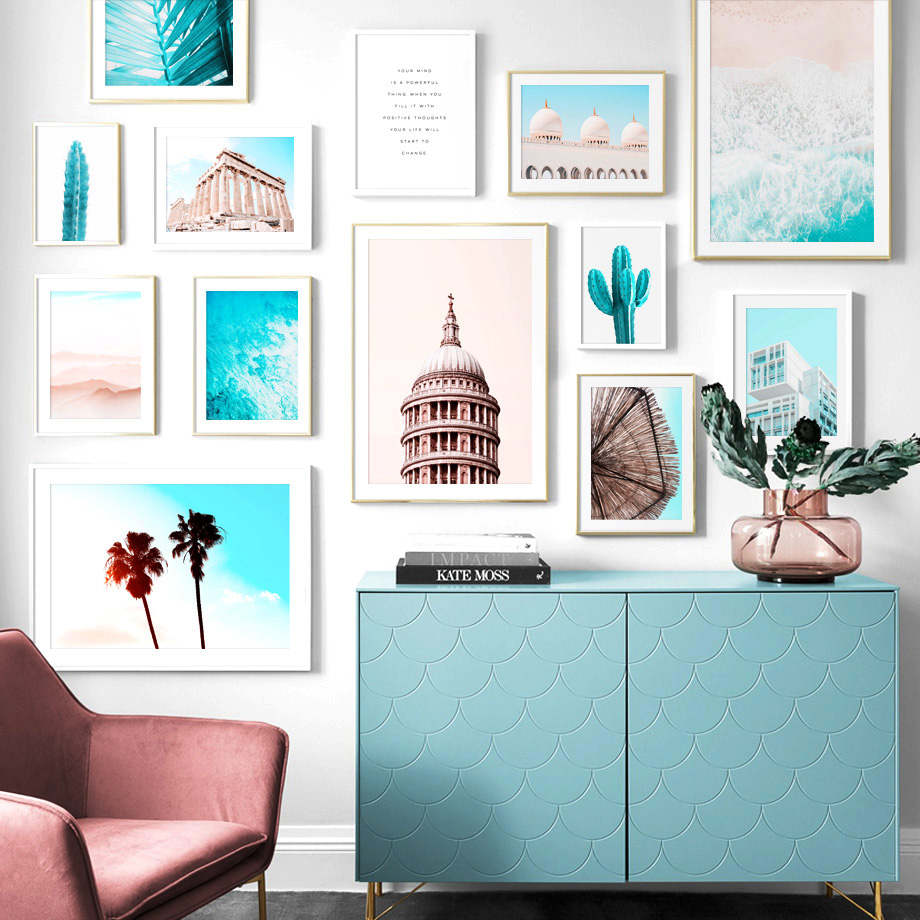 mosque Sea Cactus Plant Landscape Nordic Posters And Prints Islamic Wall Art Canvas Painting Pictures For Living Room Decor