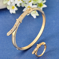 Perfect Wedding Jewelry Zircon Bangles Ring Sets Best Bridal Accessories Indian Bracelet Anel Sets Women Anniversary