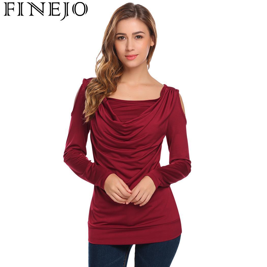 Cowl Neckline: FINEJO T Shirt Tops Women Shoulder Cowl Neck Cold Long