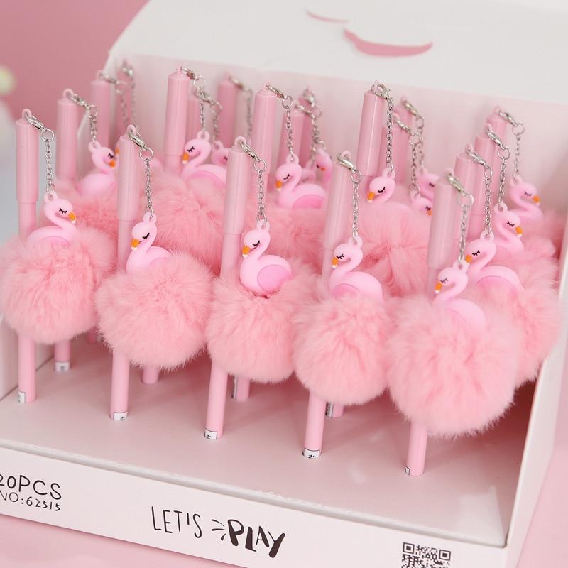 1pc Pink Flamingo Gel Pen Beautiful Plush Swan Pens For School Writing Girl Gifts Kawaii Neutral Pens School Supplies Stationery flamingo swan lovely golden crown swan flamingo wall art 3d girl pink goose swan doll stuffed toy animal dolls kids toys