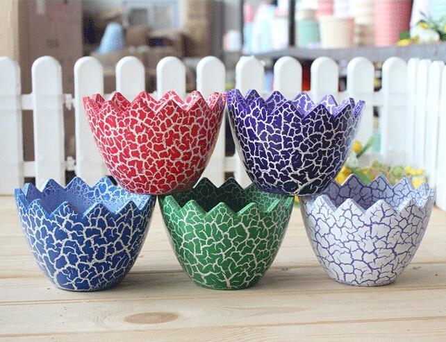 Preferred Multicolor DIY Ceramic Egg Shell Shaped Garden Plant Pots Home  ED78