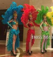 Костюмы с перьями Samba танцевальные костюмы открытие шоу одежда перо