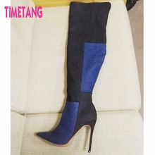 Women shoes beautiful pointed toe denim color block decoration over-the-knee stiletto boots 36 – 43
