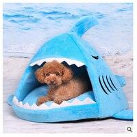 暖かいソフト猫ハウス冬ペット寝袋美しいシャーク犬犬小屋猫ベッド子犬小型犬クッションソファペット製品# k