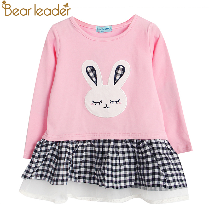 Bear Leader Girls Dress 2018 Spring Casual Style Baby Girl Clothes Long Sleeve Cartoon Bunny Print Plaid Dress for Kids Clothes