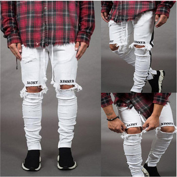 2019 New Fashion Pants Men Skinny Jeans Men Streetwear Ripped Jeans For Man Fitted Bottoms Zipper Hip Hop Jeans Homme Denim 1