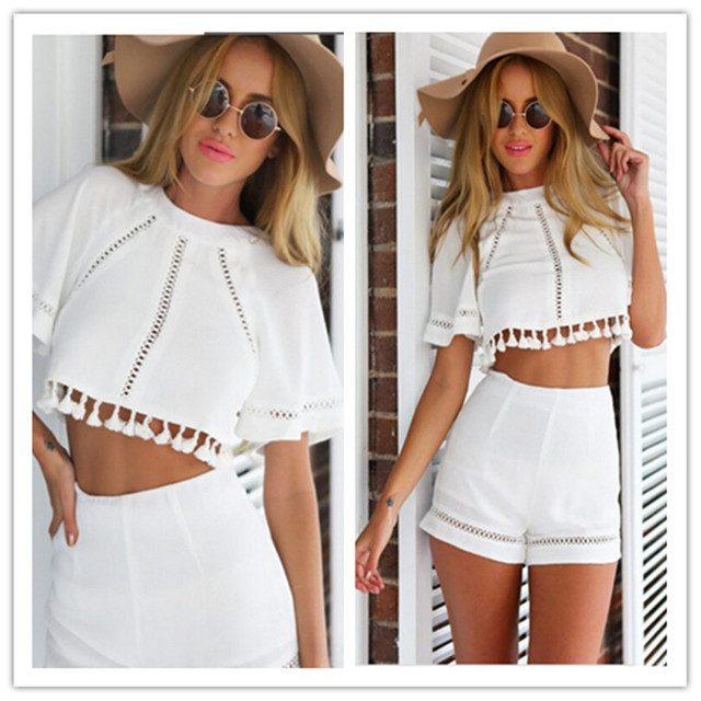 3f2d10cb16 Summer Casual White 2 Piece Set Womens Shorts and Top womenTwo Piece  Outfits Shorts Crop Top and Shorts Set for women ladies