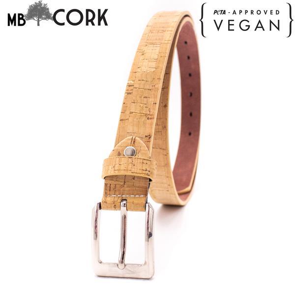 Natural Cork Women Belt Wooden Vegan Eco Gift Lady Belt Accessory L-033-C